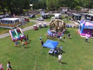 An overview of several bounce houses at Camp Chautauqua
