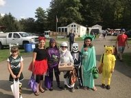 A group of Trick or Treaters at Camp Chautauqua